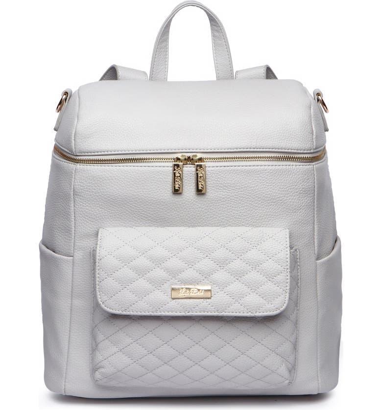 LULI BEBÉ Monaco Faux Leather Diaper Backpack, Main, color, STONE GREY