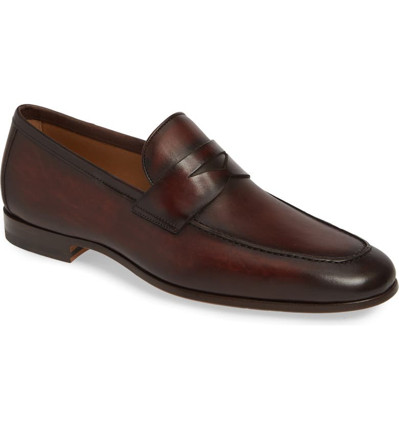 MAGNANNI Reed Penny Loafer, Main, color, MID BROWN LEATHER