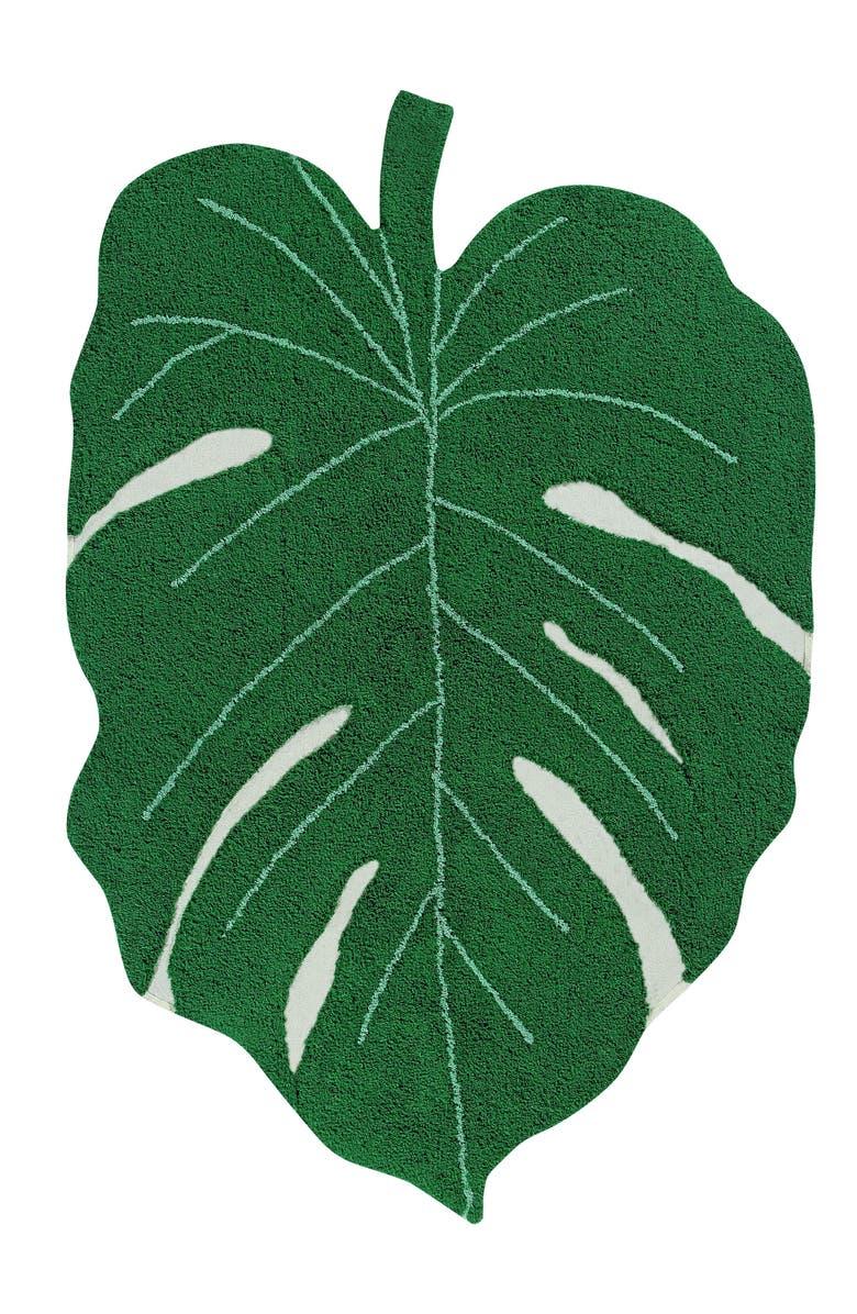 LORENA CANALS Monstera Leaf Rug, Main, color, MONSTERA LEAF