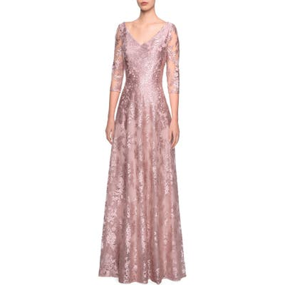 La Femme V-Neck Metallic Embroidered Evening Dress, Pink