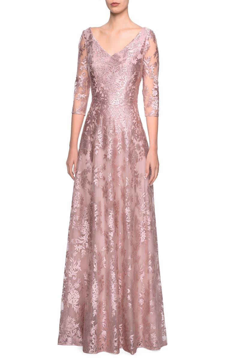 LA FEMME V-Neck Metallic Embroidered Evening Dress, Main, color, MAUVE