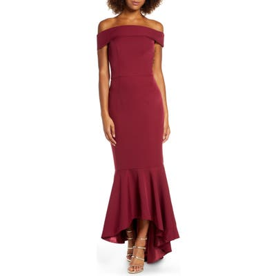Chi Chi London Roz Off The Shoulder Mermaid Gown, Burgundy