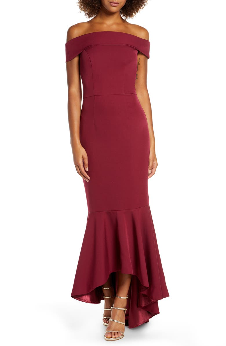 CHI CHI LONDON Roz Off the Shoulder Mermaid Gown, Main, color, BURGUNDY
