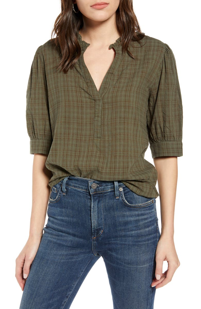 TREASURE & BOND Split Neck Check Top, Main, color, OLIVE SARMA