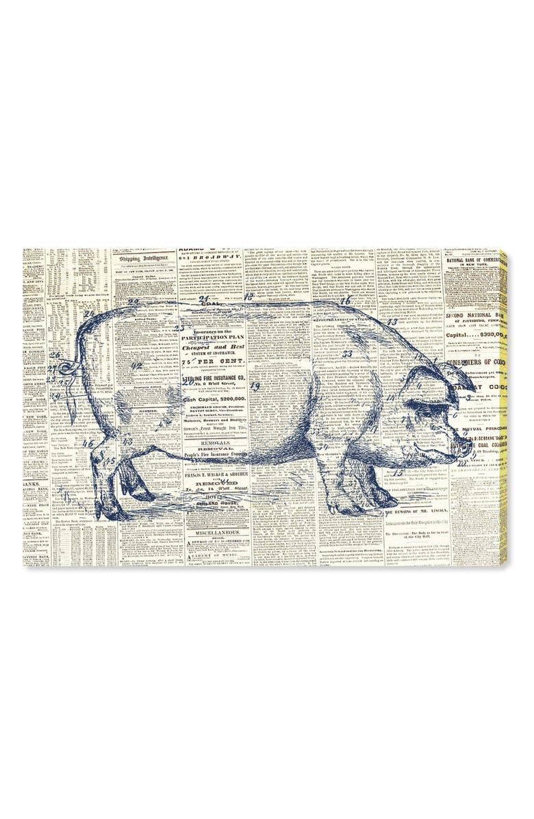 OLIVER GAL Pig Farmhouse Canvas Wall Art, Main, color, BLUE