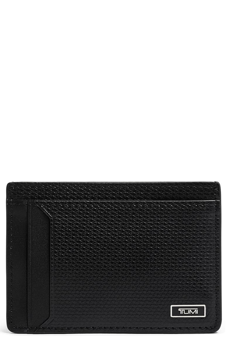 TUMI Monaco Leather Card Case, Main, color, BLACK