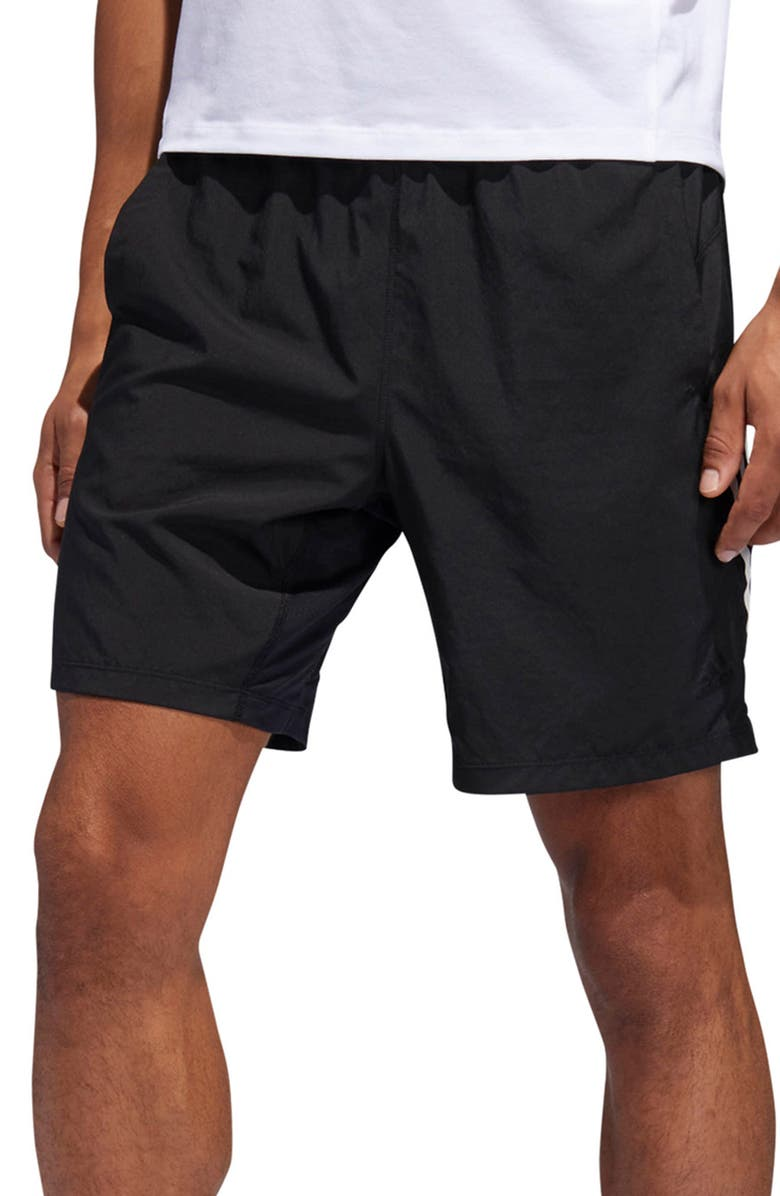 ADIDAS 4K Tech Athletic Shorts, Main, color, BLACK/ WHITE