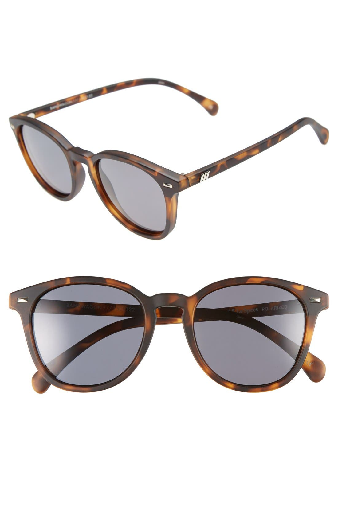 'Bandwagon' 51mm Polarized Sunglasses, Main, color, MATTE TORT/ SMOKE MONO POLAR
