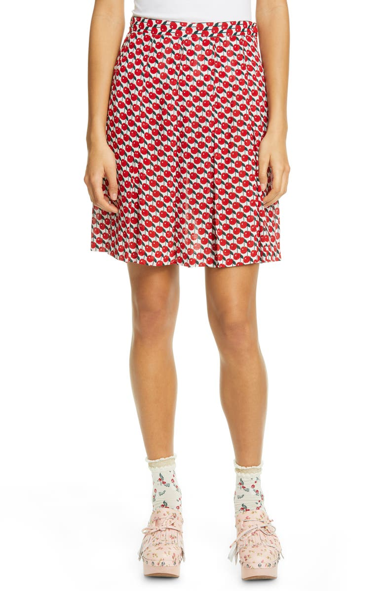 ANNA SUI Cherries Print Miniskirt, Main, color, RED MULTI