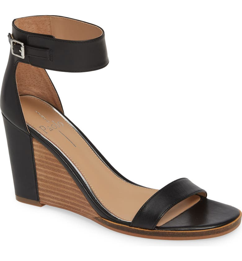 LINEA PAOLO Elodie Wedge Sandal, Main, color, BLACK LEATHER