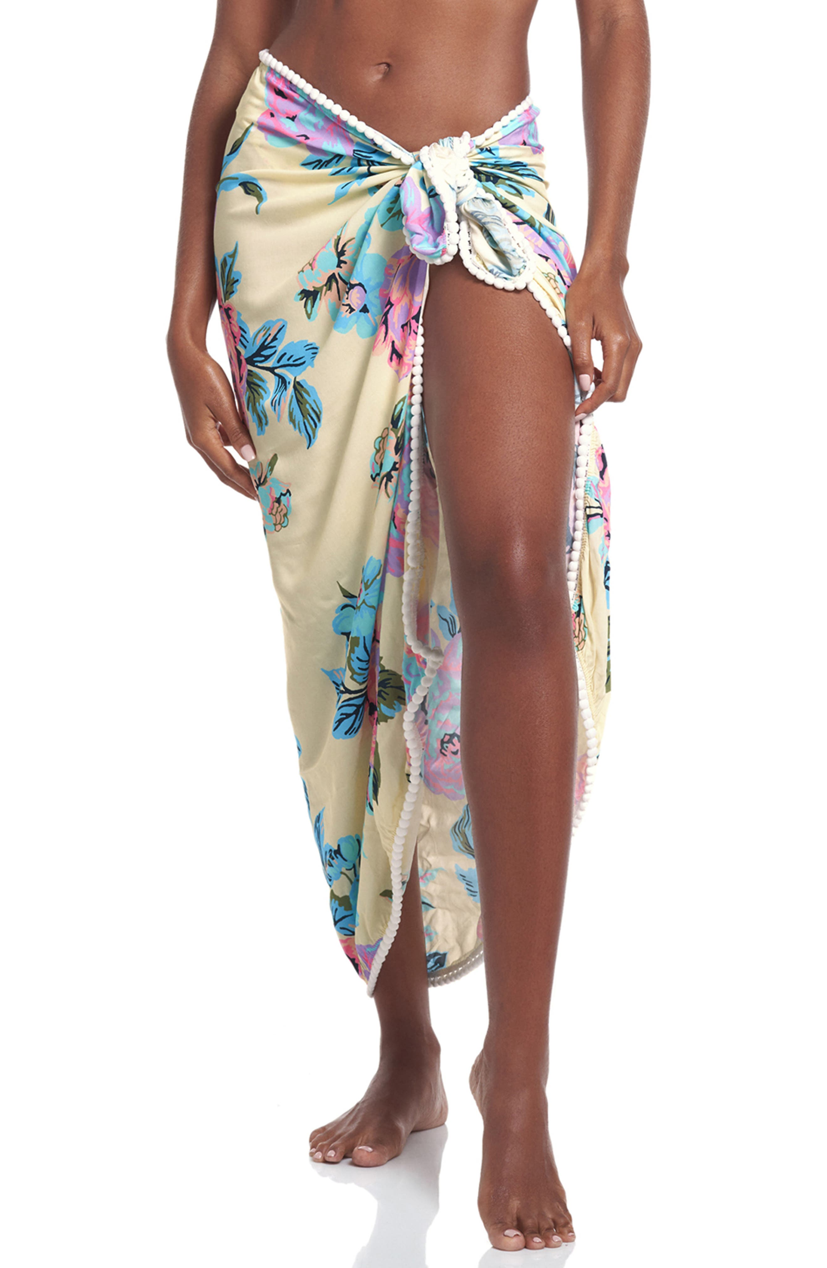 Floral Wrap Cover-Up Skirt