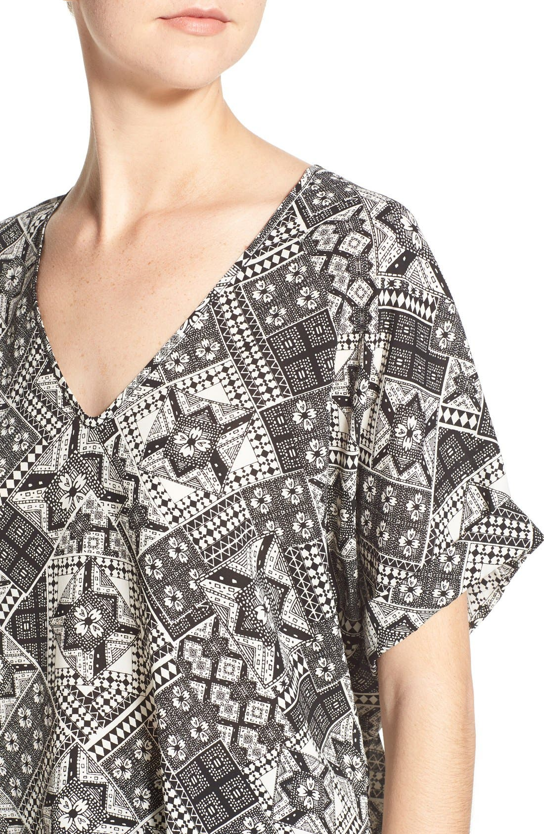 ,                             Lush Cuff Sleeve Woven Tee,                             Alternate thumbnail 19, color,                             009