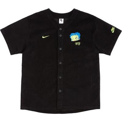 Nike X Olivia Kim Corduroy Baseball Jersey, Black