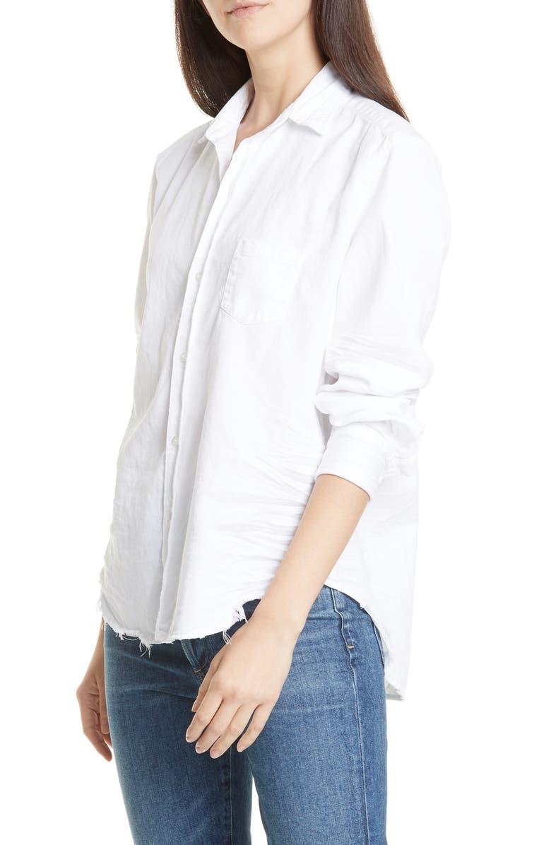 FRANK & EILEEN Eileen Cotton Denim Shirt, Main, color, WHITE TATTERED WASH DENIM