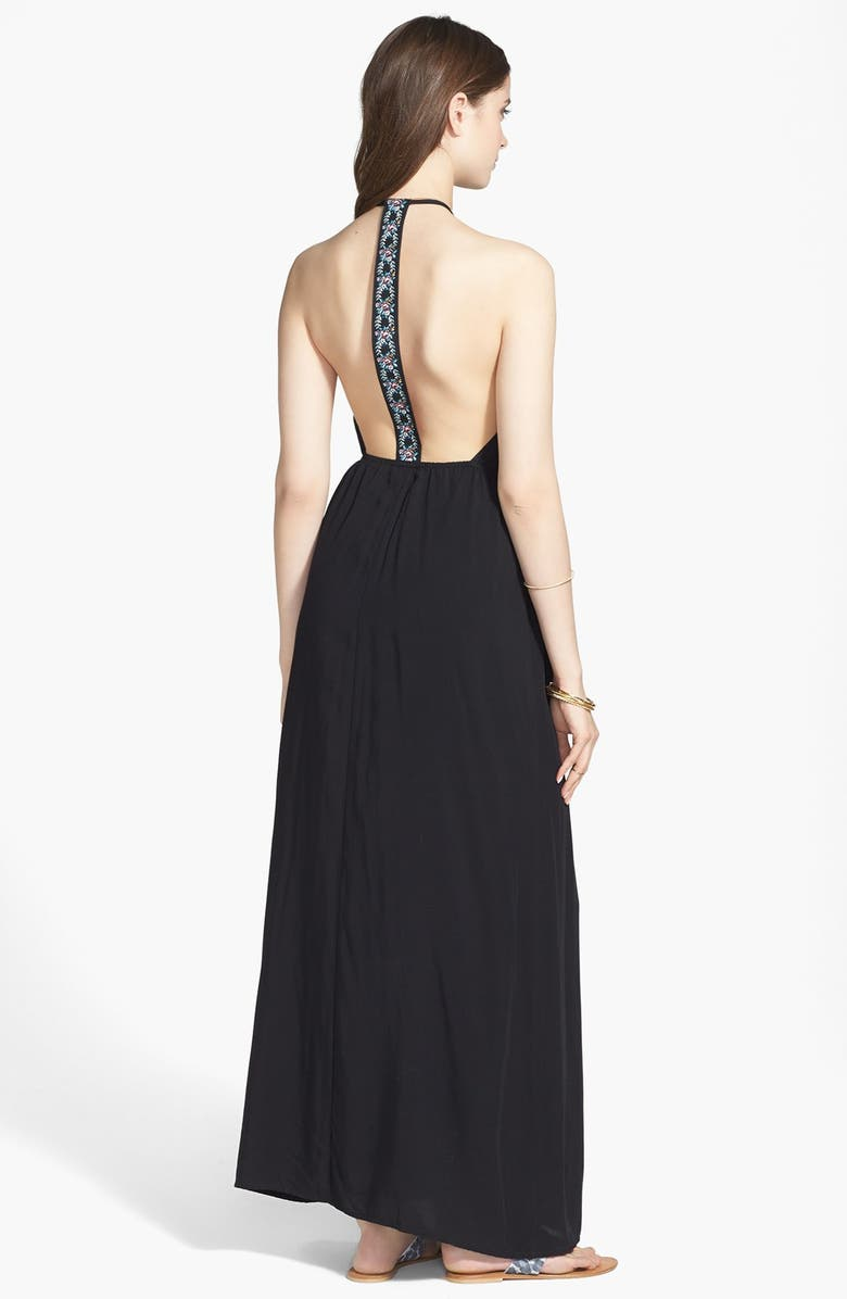 MIMI CHICA Embroidered T-Back Maxi Dress, Main, color, Black