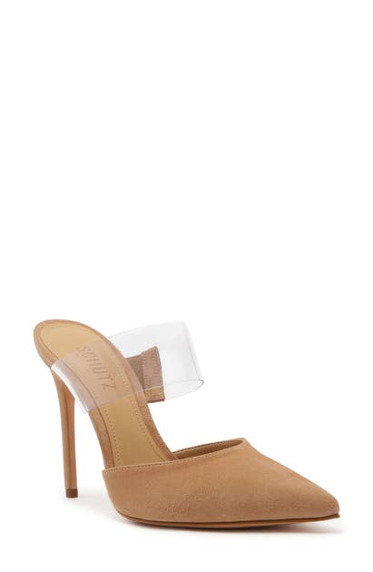 Schutz Mules SIONNE CLEAR STRAP POINTED TOE MULE