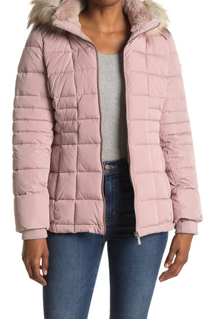Image of Calvin Klein Faux Fur Trimmed Quilted Puffer Jacket