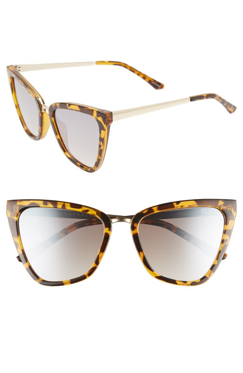QUAY AUSTRALIA Reina 51mm Gradient Cat Eye Sunglasses, Main, color, TORT/ BROWN FLASH