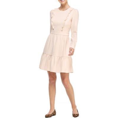 Gal Meets Glam Collection Hayley Ruffle Detail Long Sleeve Dress, Ivory