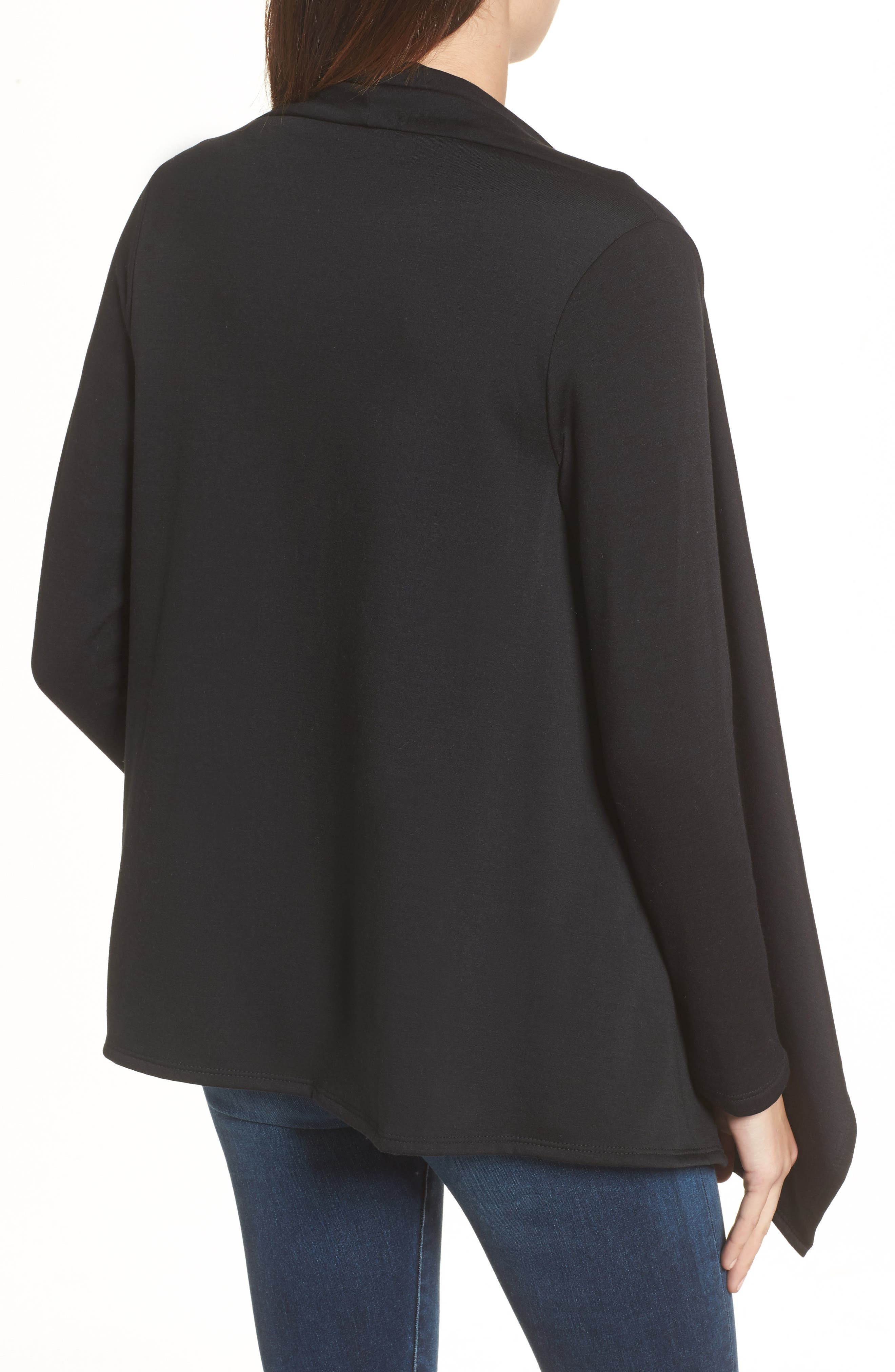 ,                             One-Button Fleece Wrap Cardigan,                             Alternate thumbnail 2, color,                             001