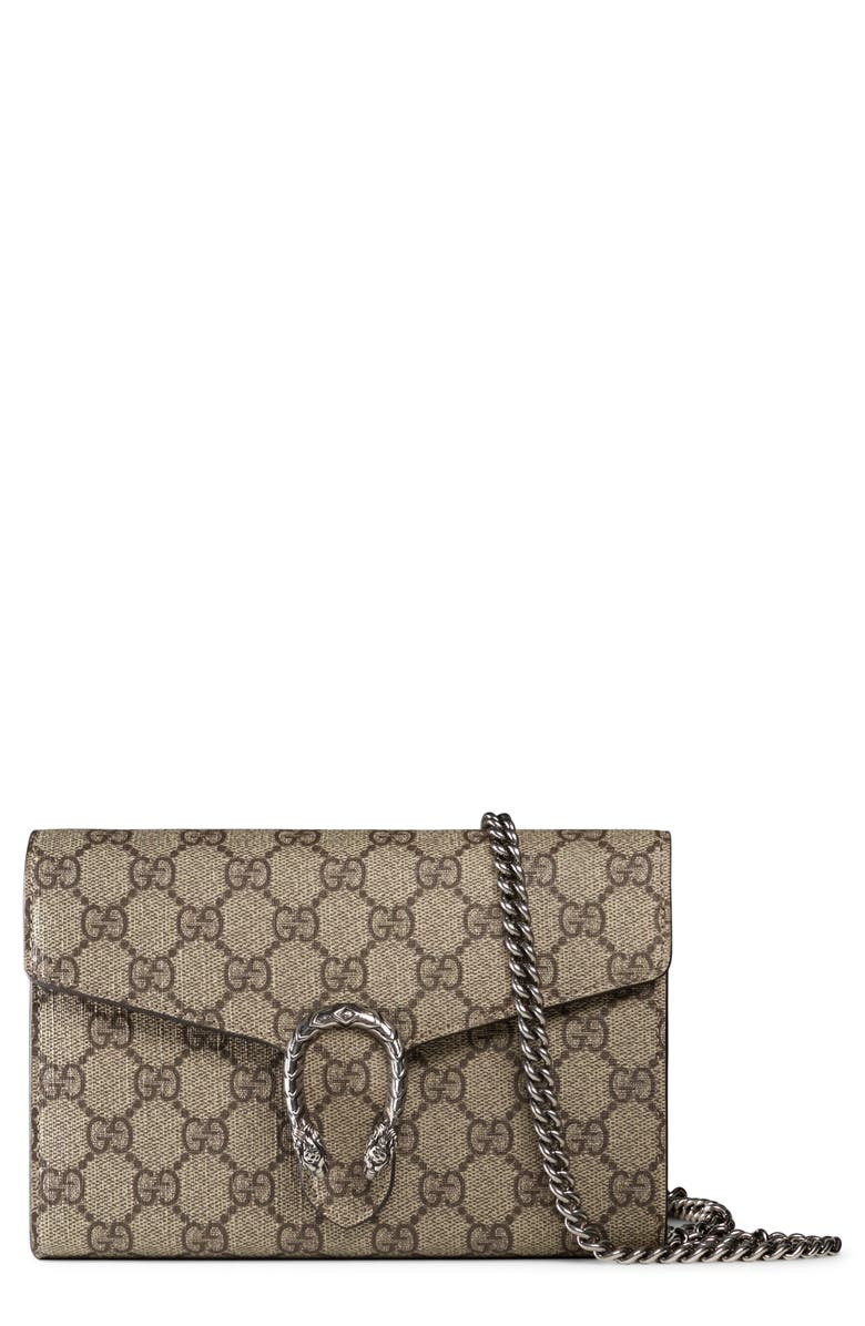 GUCCI Dionysus GG Supreme Canvas Wallet on a Chain, Main, color, 271