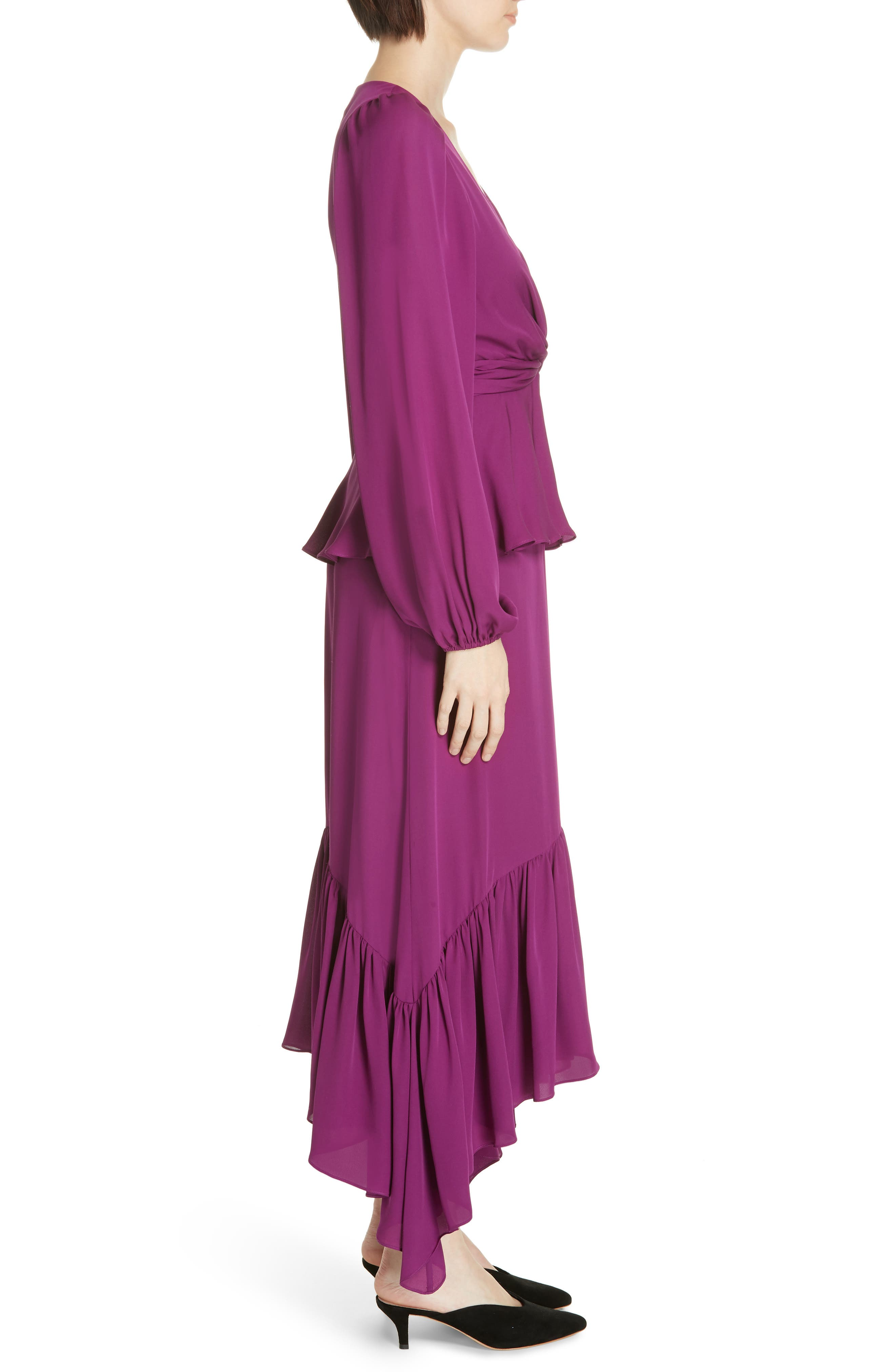 ,                             Stanwyck Ruffle Silk Dress,                             Alternate thumbnail 4, color,                             500