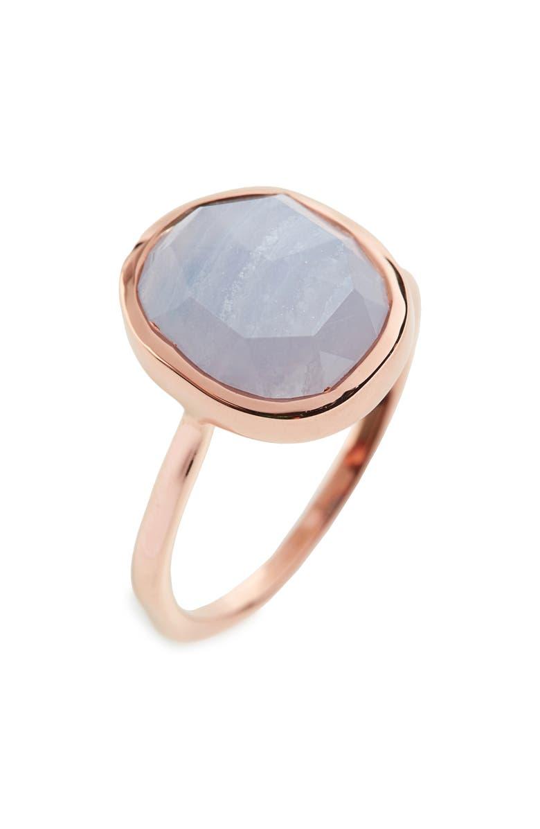 MONICA VINADER Siren Medium Semiprecious Stone Stacking Ring, Main, color, ROSE GOLD/ BLUE LACE AGATE