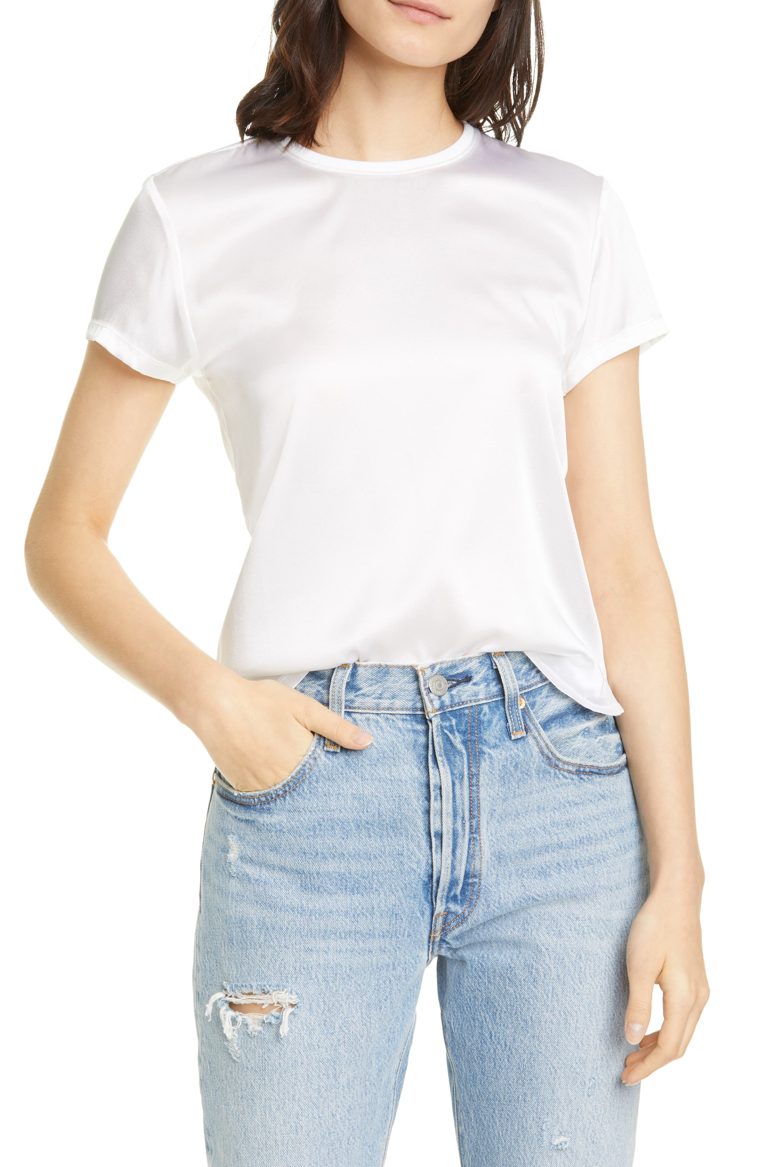 Atm Anthony Thomas Melillo Women's Silk Blend Crewneck T-shirt In White