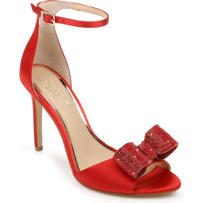 Jewel Badgley Mischka Urania Crystal Bow Ankle Strap Sandal, Red