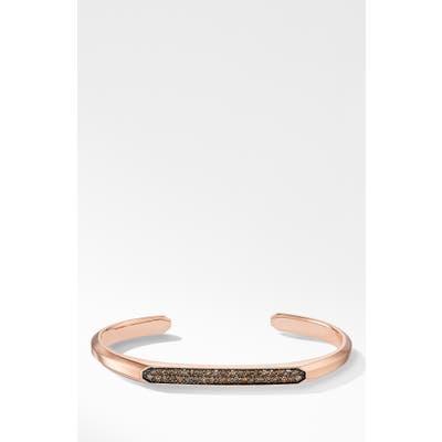 David Yurman Streamline 18K Rose Gold Cuff Bracelet With Cognac Diamonds