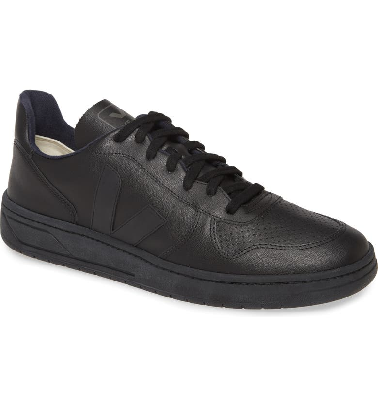 VEJA V-10 Sneaker, Main, color, ALL BLACK VEGAN LEATHER