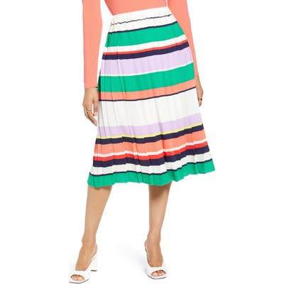 Halogen Pleated Midi Skirt, Ivory