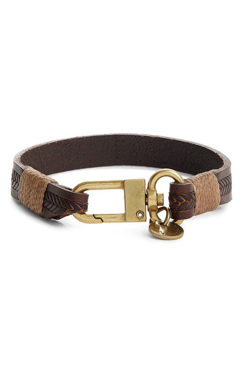 CAPUTO & CO. Embossed Leather Bracelet, Main, color, DARK BROWN