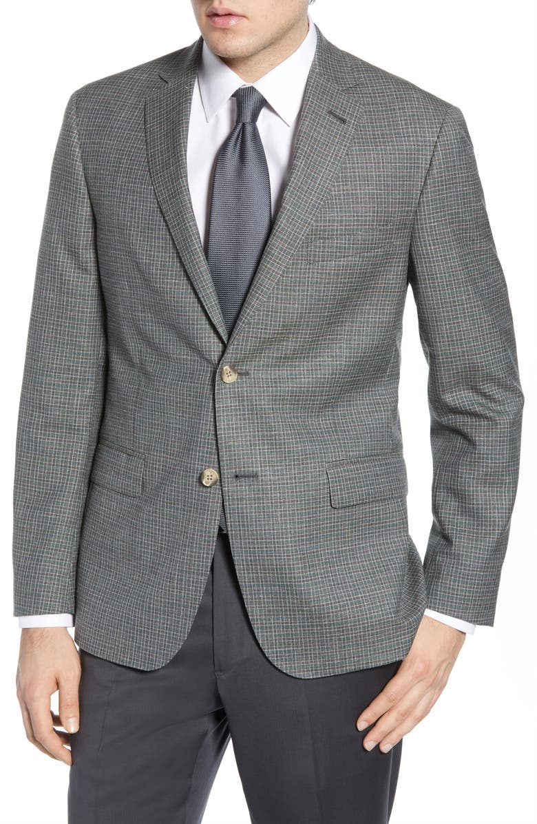 JOHN W. NORDSTROM<SUP>®</SUP> Traditional Fit Check Wool Blend Sport Coat, Main, color, BROWN MAJOR GREEN PLAID