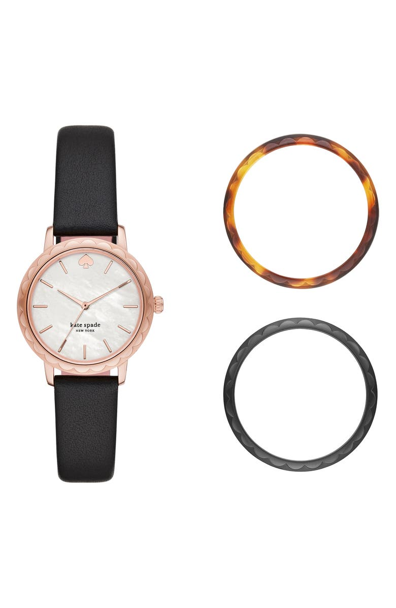 KATE SPADE NEW YORK 'metro' round leather strap watch, 34mm, Main, color, 002