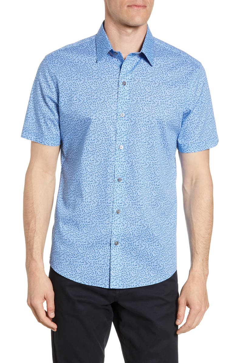 ZACHARY PRELL Paige Regular Fit Short Sleeve Button-Up Shirt, Main, color, BLUE