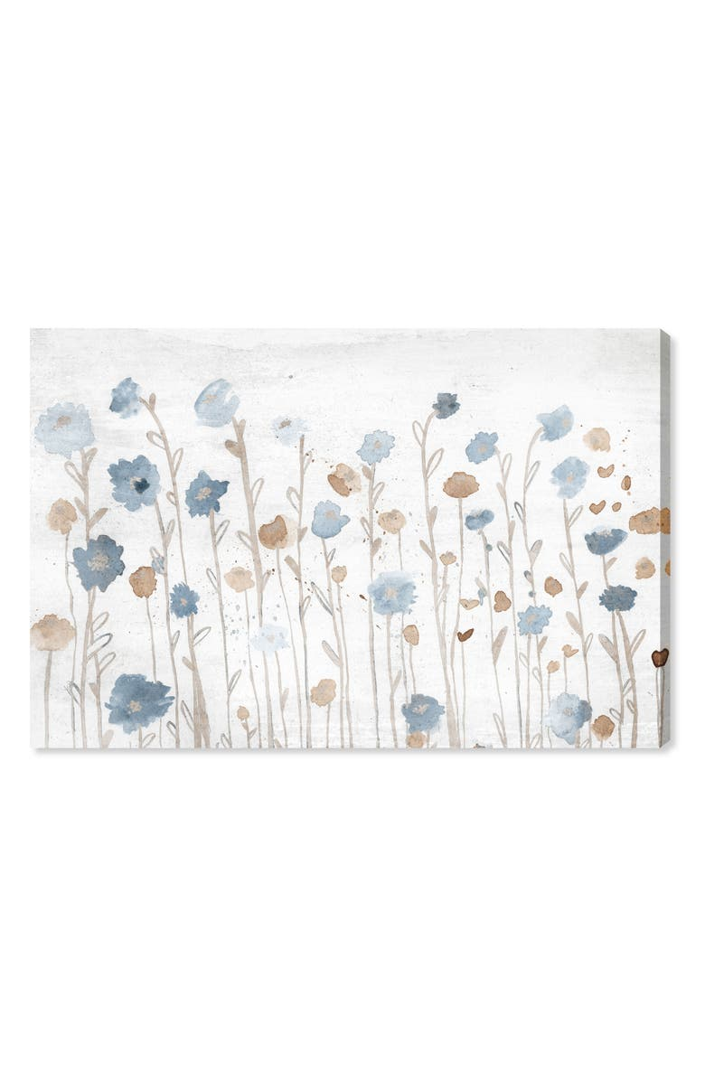 OLIVER GAL Beautiful Growth Light Blue Canvas Wall Art, Main, color, WHITE