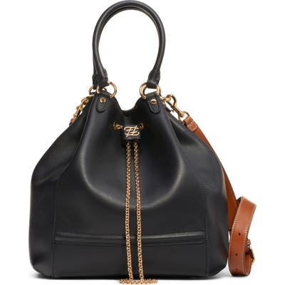 Fendi Grace Chain Drawstring Leather Bucket Bag - Black