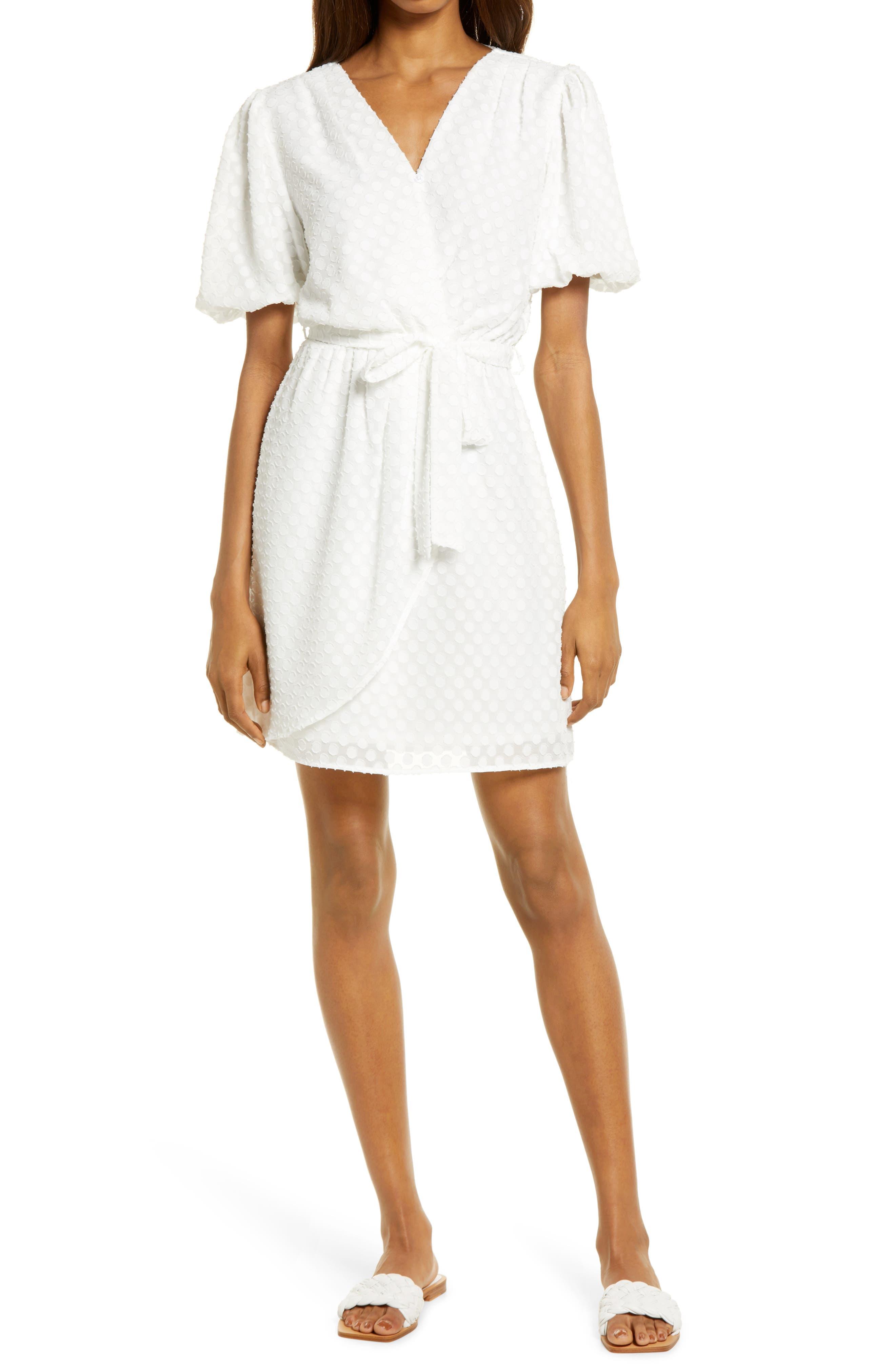 Dot Jacquard Faux Wrap Dress