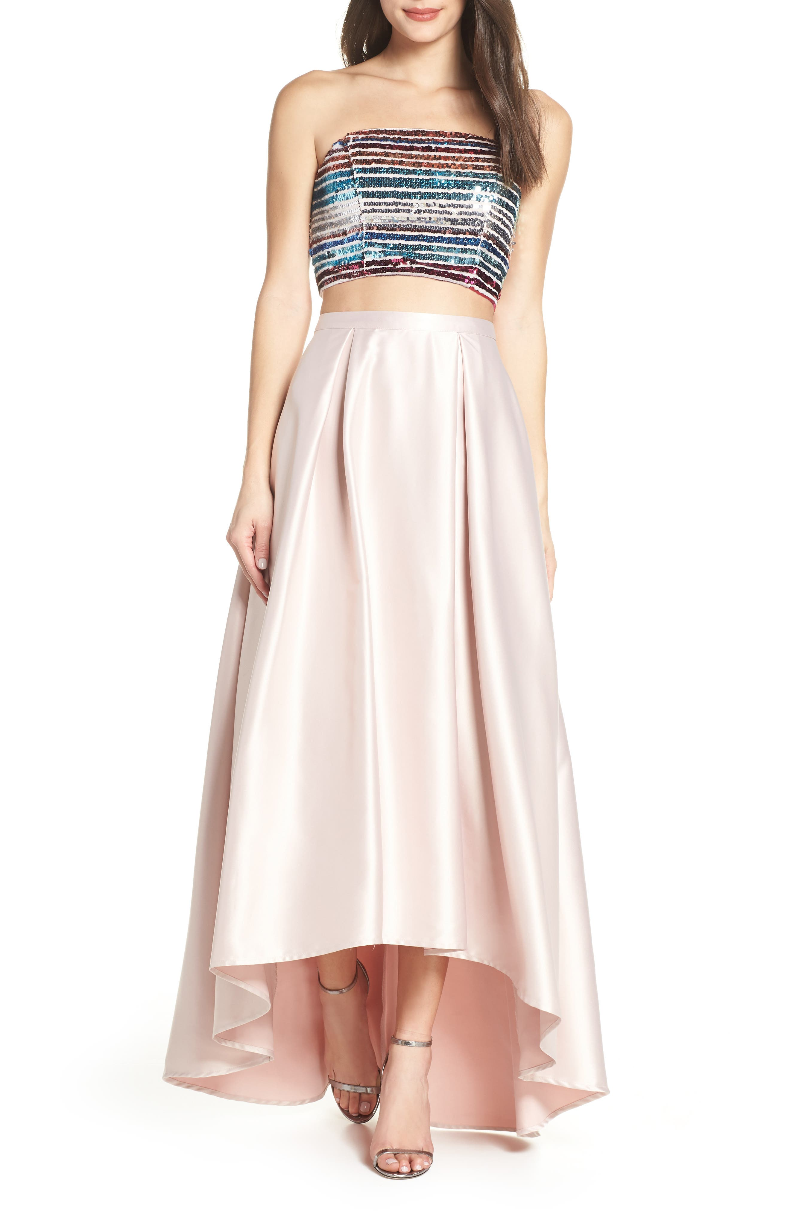 Sequin Hearts Sequin Bandeau & Satin Two Piece Gown, Pink