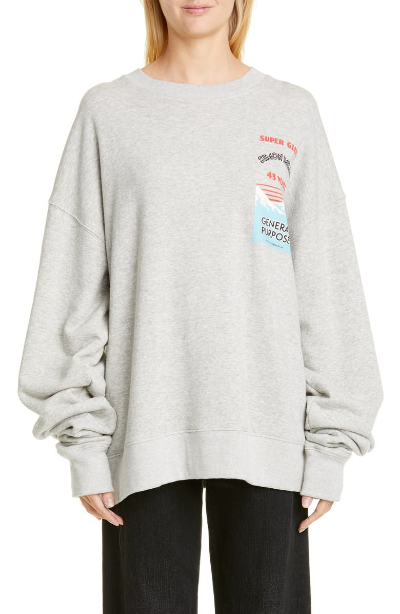 SIMON MILLER Rista Battery Print Cotton Sweatshirt, Main, color, GREY W/ BATTERY PRINT