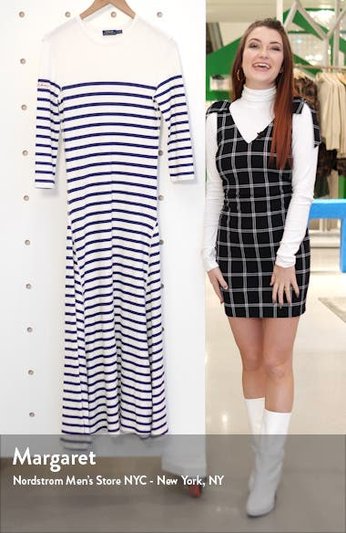 Stripe Waffle Knit Cotton Blend Dress, sales video thumbnail