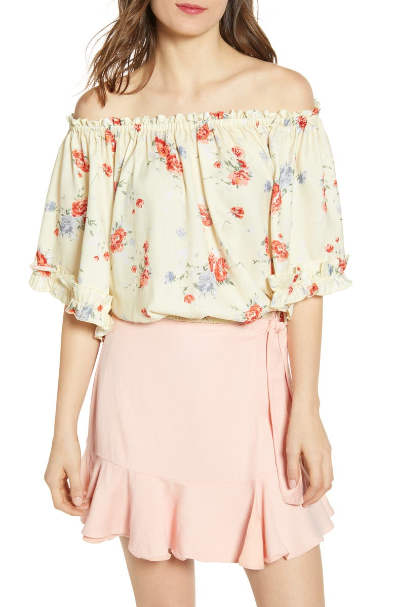 WAYF Ginnie Off the Shoulder Top, Main, color, YELLOW POPPY PRINT