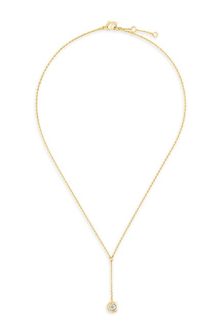Image of Sterling Forever 14K Gold Plated Sterling Silver CZ Y Drop Necklace