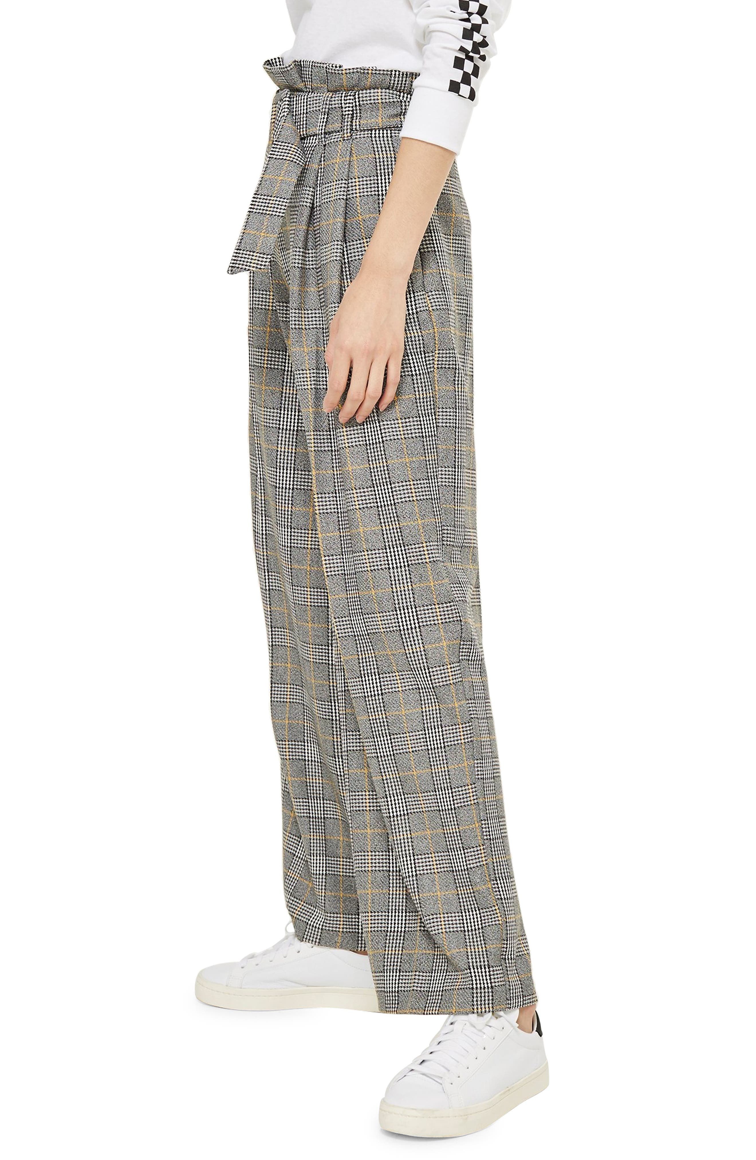 ,                             Check Wide Leg Trousers,                             Alternate thumbnail 4, color,                             020