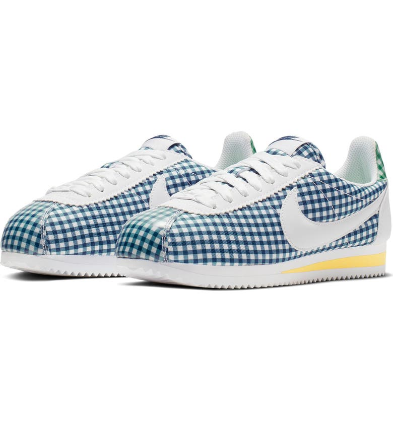 NIKE Classic Cortez QS Gingham Sneaker, Main, color, WHITE/ WHITE-BLUE FORCE-TOPAZ