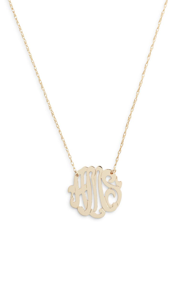 JANE BASCH DESIGNS Jane Basch Script Monogram Necklace, Main, color, GOLD