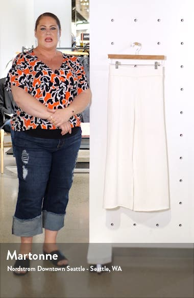 Ribbed Knit Crop Wide Leg Pants, sales video thumbnail