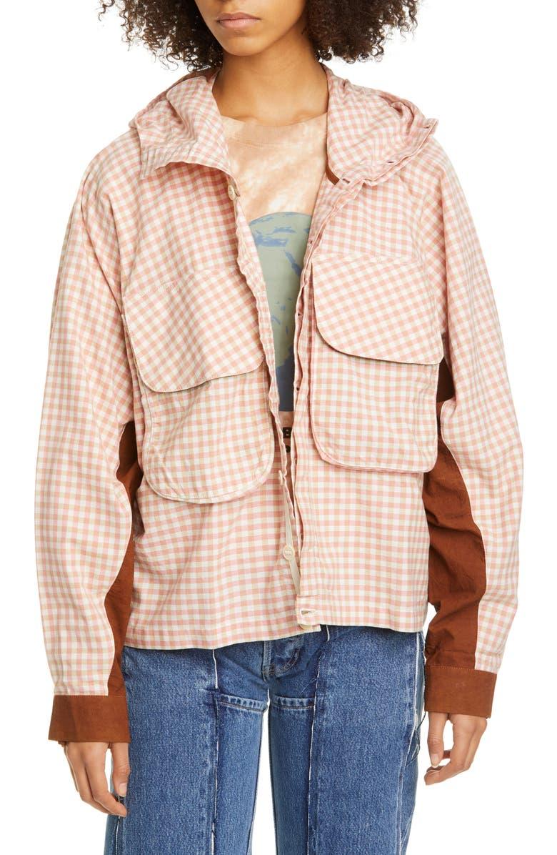 STORY MFG. Forager Gingham Organic Cotton Jacket, Main, color, APPLE JAM GINGHAM