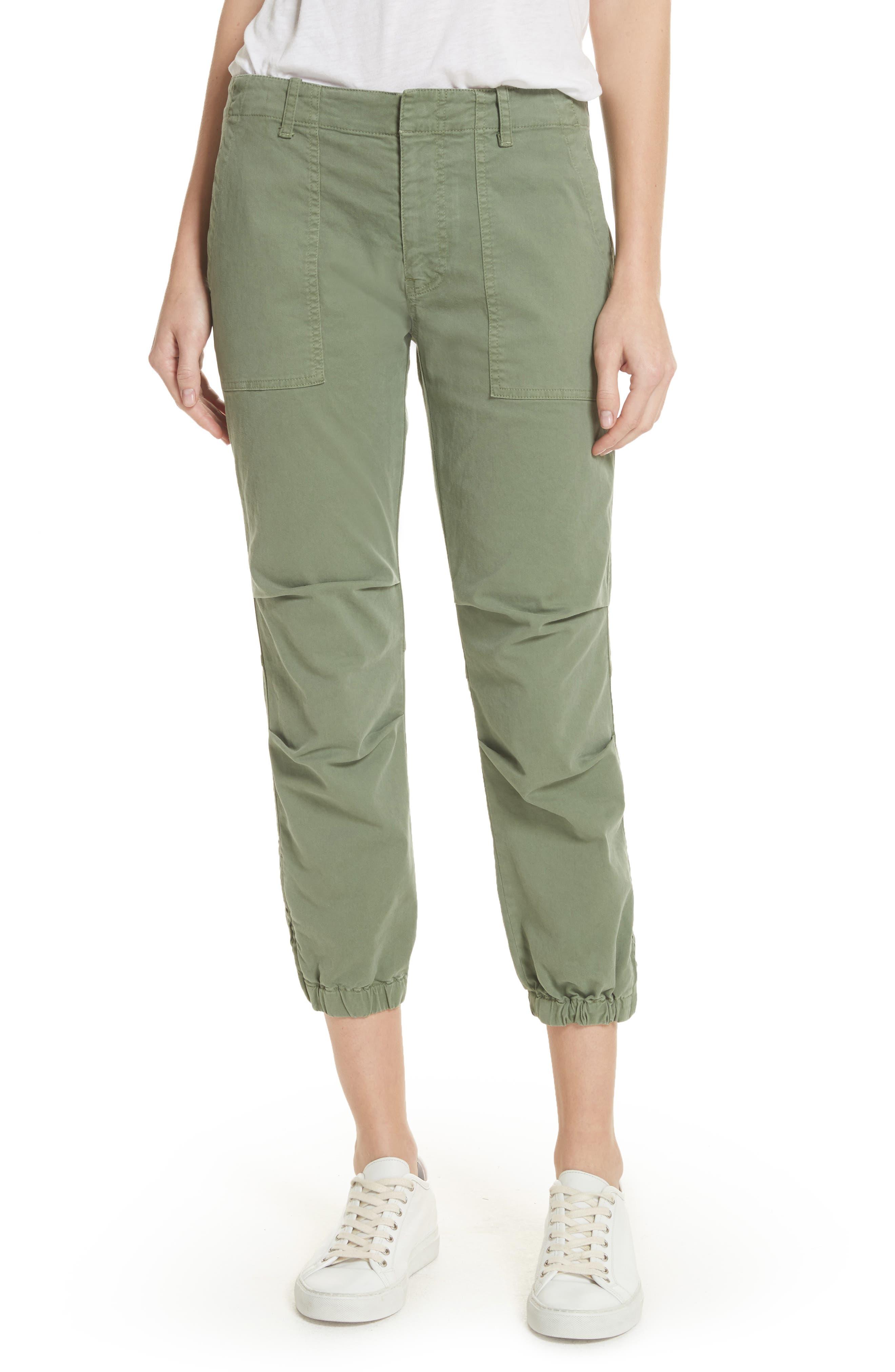 Women's Nili Lotan Stretch Cotton Twill Crop Military Pants,  0 - Green
